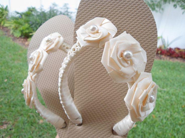 Ivory Bridal Flip Flops / Bridesmaid Flip Flops / Beach Wedding Flip Flops / Nude Tan Sand Beige Wedding Flip Flops / Bridal Shoes. $40.00, via Etsy. Cute & comfy...could be a DIY project.