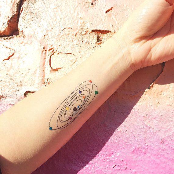 Sistema Solar colorido tatuaje temporal Set de por TattooWhatever                                                                                                                                                                                 Más
