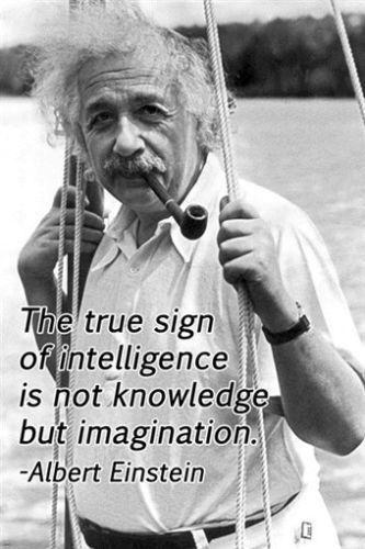 The true sign of intelligence is not knowledge, but imagination. --Albert Einstein