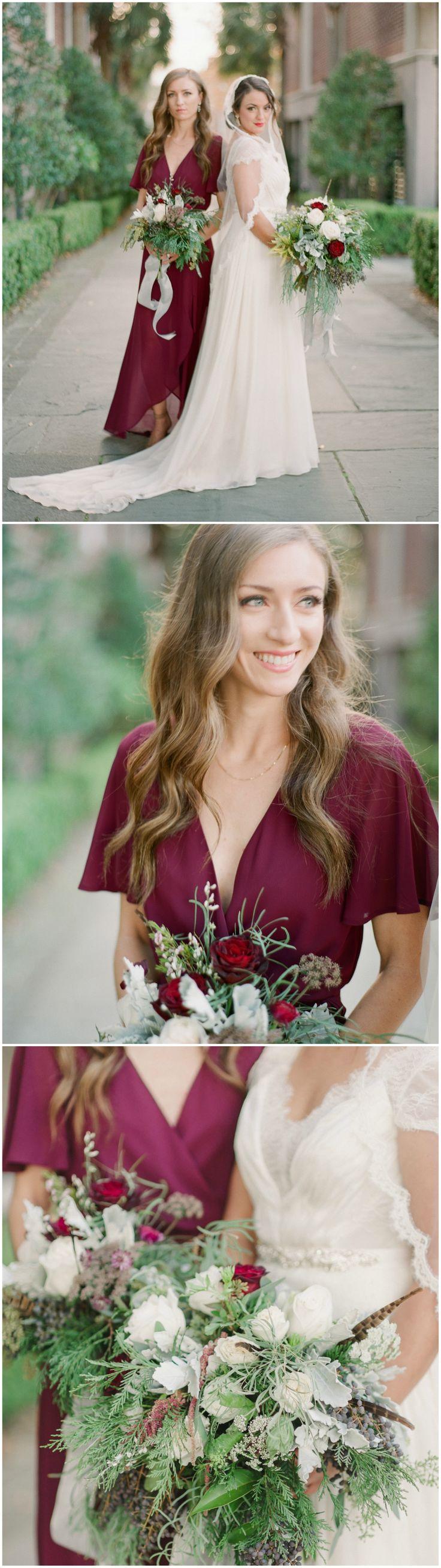 Maroon bridesmaid dress, butterfly sleeves, wine, wedding fashion, organza wedding dress // Julie Livingston Photography
