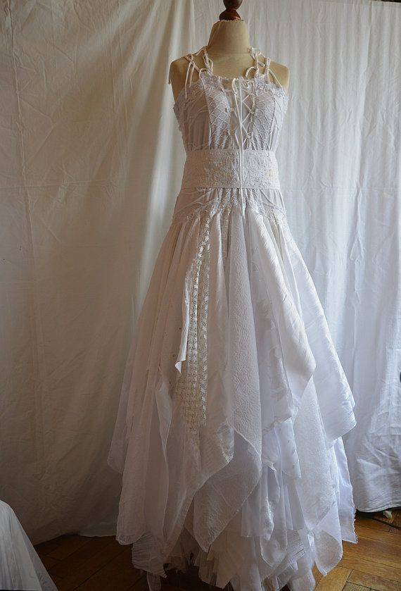 tattered wedding dresses | Reserved for Kat. Upcycled Wedding Dress Fairy Tattered Romantic Dress ...