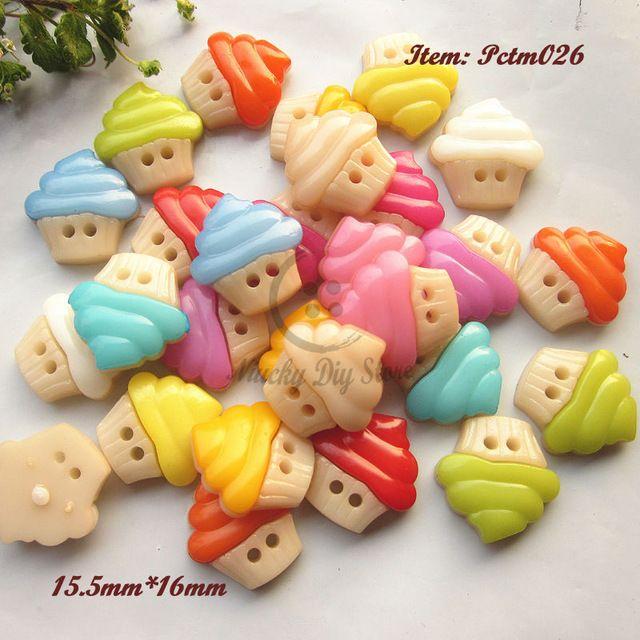 120 шт. смешанные цвета торт из мороженого кнопки смешайте 2 отверстия мультфильм кнопки для украшения diy аксессуары