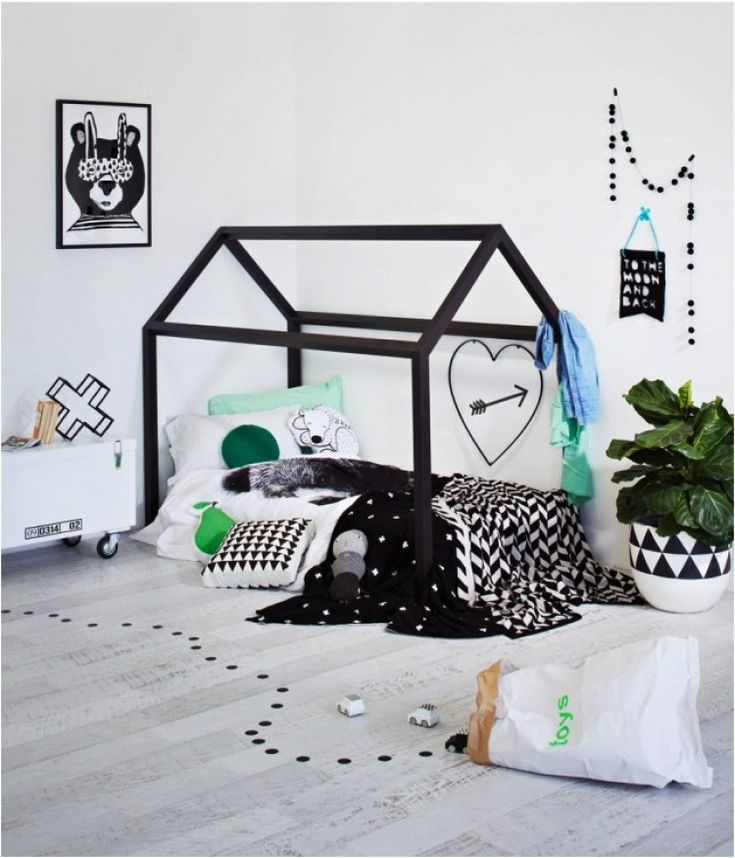 Cool black and white boys rooms with pops of colour