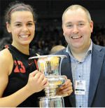 Former Duquesne women's basketball forward Diana Voynova ('11) led Team Northumbria to its first-ever National Cup Championship on Sunday after a thrilling 66-64 victory over Cardiff Archers. Voynova, who is the team's captain, scored 16 points and pulled down a game-high 18 rebounds.