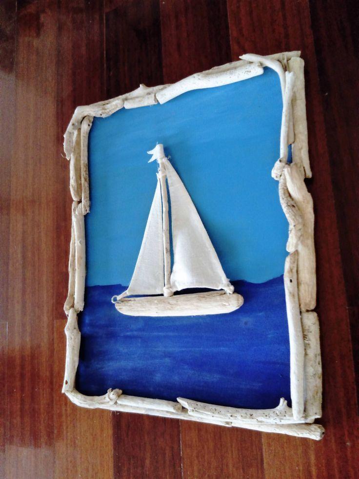 Driftwood 3d Sailboat Sailing Boat Framed Wall Art Driftwood Wall