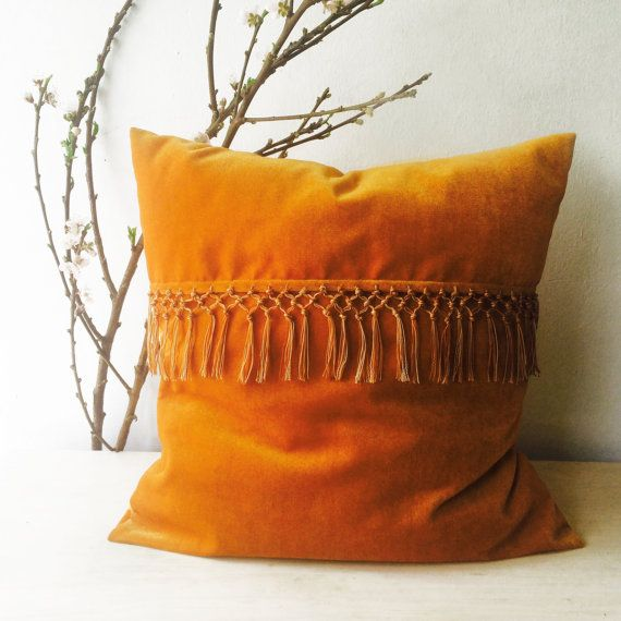 Tassel Pillow, Boho Pillow Cover, Velvet Pillow Cover, Orange Pillow Cover, Decorative Throw Pillow,  Gypsy Decor, Bohemian Decor