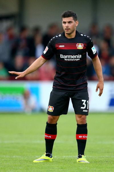 Kevin Volland of Leverkusen issues instructions during the friendly match between SC Verl and Bayer Leverkusen at Sportclub Arena on July 15, 2016 in Verl, Germany.