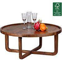 WOHNLING Couchtisch Massiv Holz Sheesham Rund 85 Cm Wohnzimmer Tisch Design  Dunkel Braun