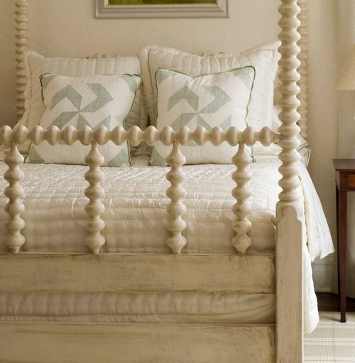 charming - love this bed - paint an old spindle bed a creamy white!