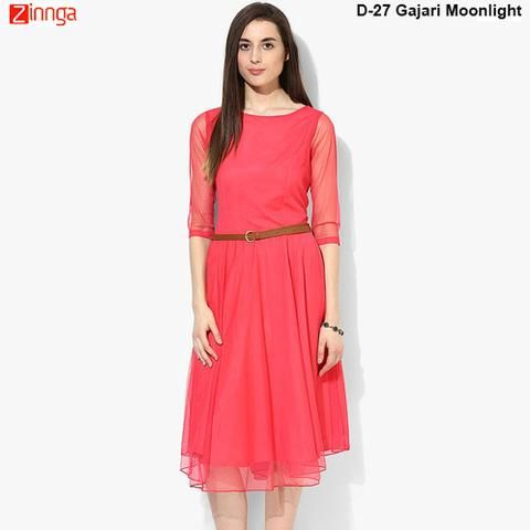 JEPSY LIFTSTYLE-Gajari Color SoftNet Moonlight Dress - D-27GajariMoonLightDress