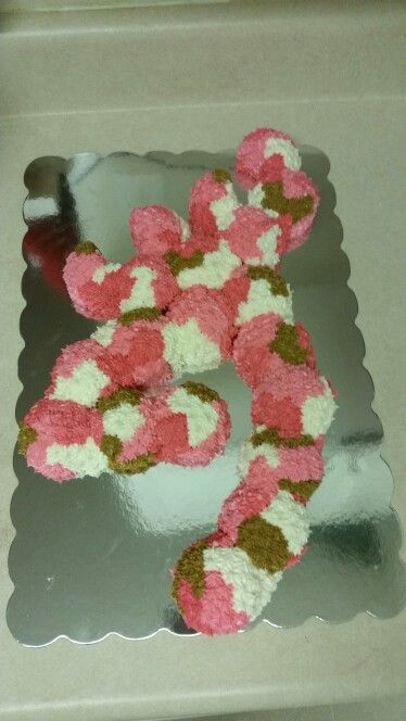 Browning cake made from pink camo cupcakes