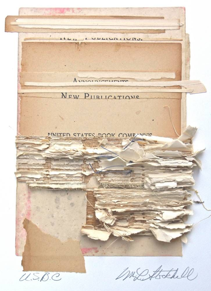 lnop:    Marie Stockhill, I Once was White, 2007collage with antique papers  Catalogue cover of the exhibition White on White at the International Museum of CollageAssemblage and Construction