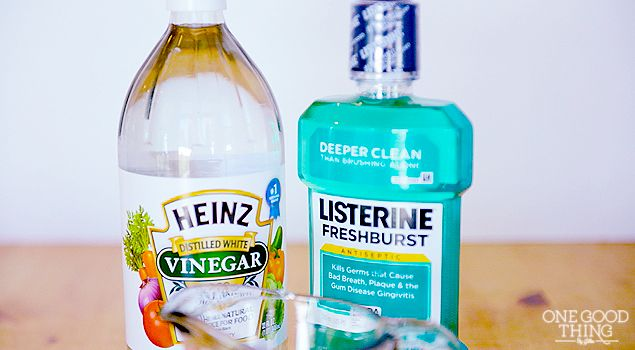 Listerine and Vinegar Soak For Softer, Smoother Feet! 1 c listerine 1 c vinegar 2 c warm water soak 10-15 min. then pumice or file