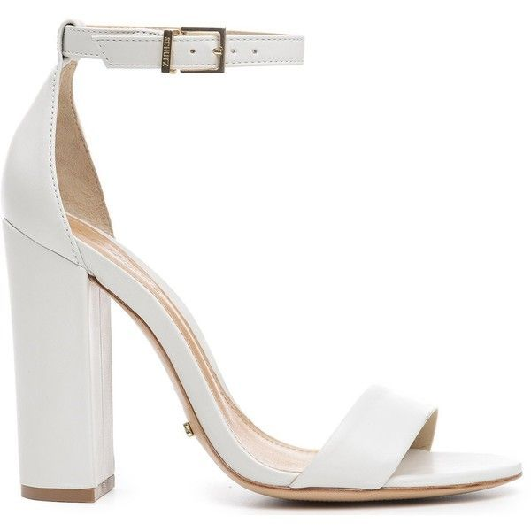 Enida SCHUTZ found on Polyvore featuring shoes, sandals, heels, heeled sandals, white heeled sandals, white high heel sandals, ankle strap heel sandals and block heel sandals