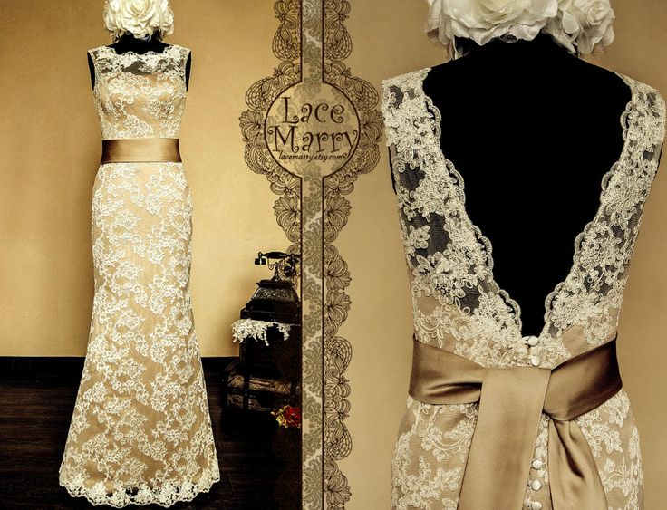 Vintage Feel Meets Stylish  Dark Champagne Underlay by LaceMarry, $274.00 Etsy