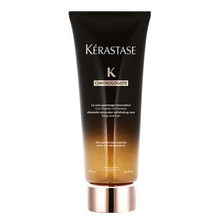 Kérastase's detoxifying micro-scrub serves as a purifying primer that nourishes and stimulates the scalp, intensifying the effects of any conditioner that follows. Kérastase Chronologiste The Gommage Exfoliating Pre-Shampoo Scalp Treatment, $44; kerastase-usa.com