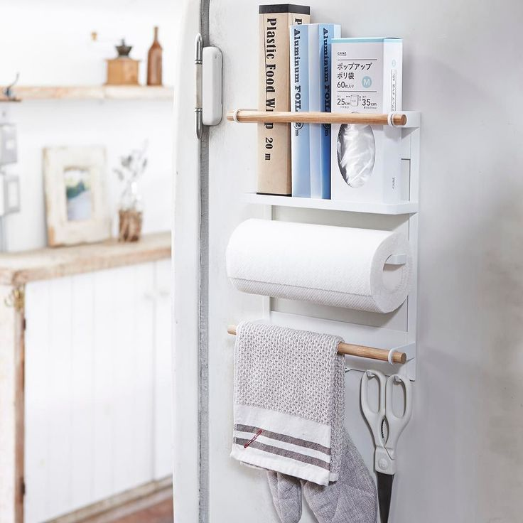 Multipurpose kitchen organization Rack from our #tosca line. Paper Towel Wraps Spices Dish Clothes put whatever you want! It's magnetic and also can be screwed to the wall. Will be available in Nov. Tosca Magnet Kitchen Organization Rack #yamazakihome #yamazakitosca #kitchenorganizer #kitchenstorage #papertowelholder #spicerack #wrapholder #dishclothhanger #toolhook #magnetorganizers #homedecor #interiordesign #scandinavian