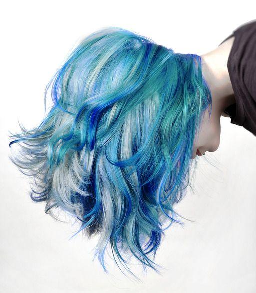 Varying tones of electric blue hair - Chloe Hamilton #trends...x