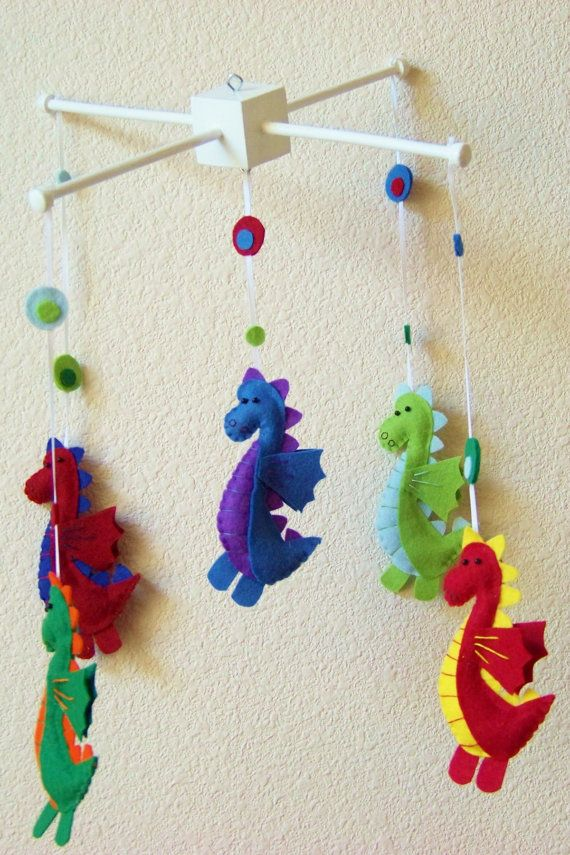Baby Mobile - Baby Crib Mobile - Dragon Mobile - Nursery Baby Room Darling Dragons (You can pick your colors)