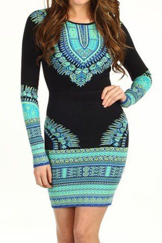 Stylish Round Neck Long Sleeve Printed Bodycon Women's Dress Vintage Dresses | RoseGal.com Mobile