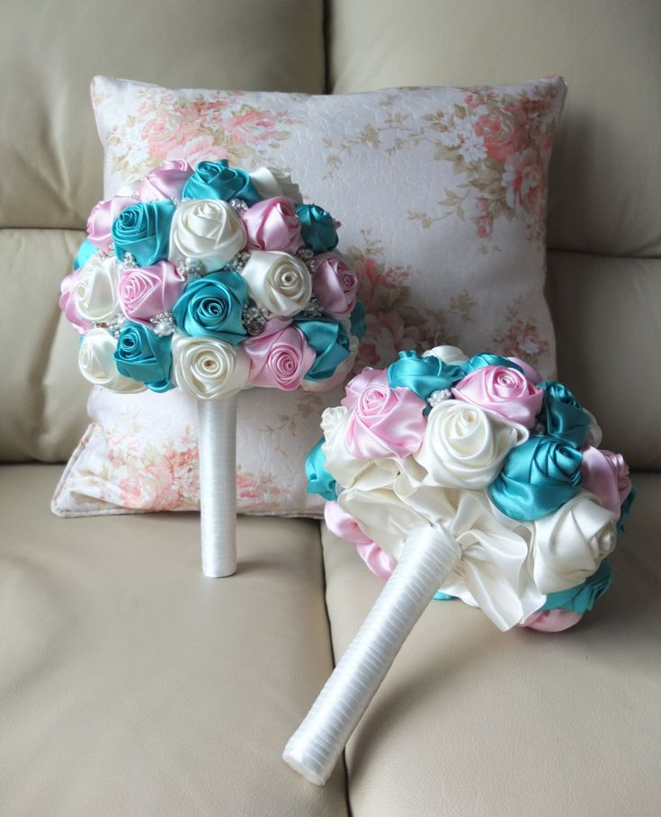Fabric Bouquet Shabby Chic bouquet Satin Rose by LoveMimosaFleur