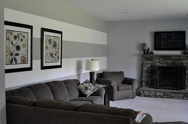 Striped walls great basement look 55 tv above fireplace for Accent stripe wall