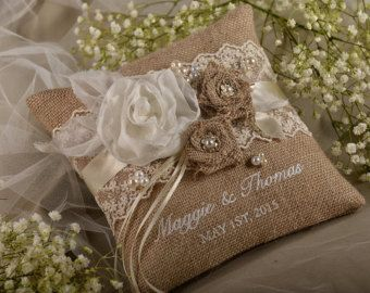 Lace Rustic Wedding Pillow, Burlap  Ring Bearer Pillow , Burlap Ring Pillow ,Embroidery Names, shabby chic natural linen