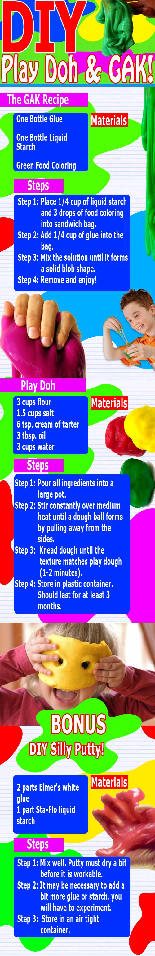 DIY Play Doh and GAK! This would be GREAT for the classroom!