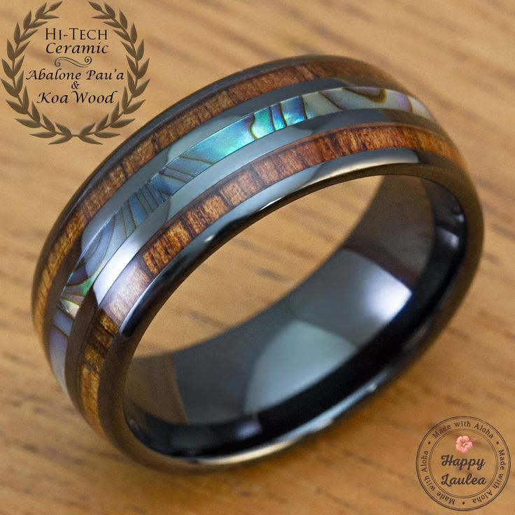 Black Hi-Tech Ceramic Ring with Abalone Pau'a Shell and Hawaiian Koa wood Inlay (8mm Width Barrel Shape Style Comfort Fit) from HappyLaulea happylaulea happy laulea black rings for men black ceramic ring
