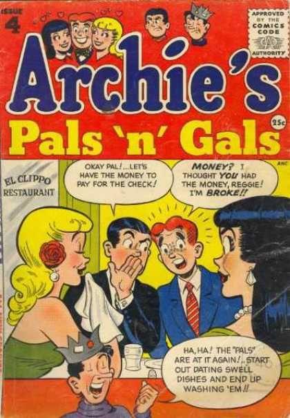 Archie's Pals 'n' Gals 4, Archie Comic Publications https://www.pinterest.com/citygirlpideas/archie-comics/