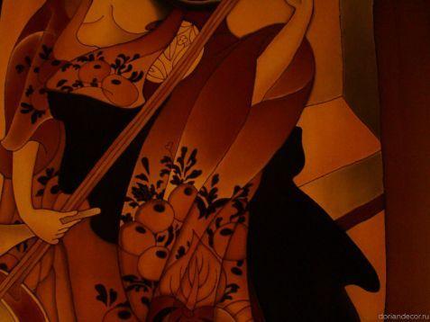 Ирина Агалакова - холодный батик, натуральный шелк. (Декоративный фрагмент). Растительный орнамент, деталь. Штора в частный интерьер по мотивам японских гравюр. Japan art