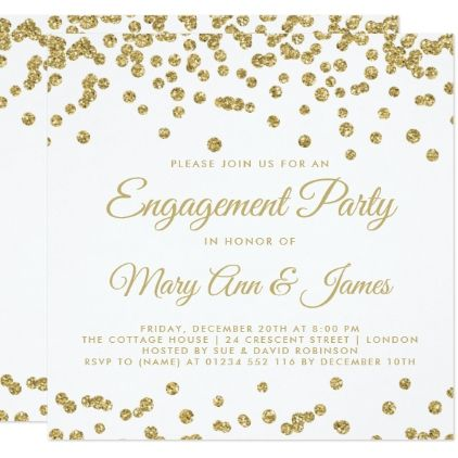 Gold Faux Glitter Confetti Engagement Party White Card - engagement gifts ideas diy special unique personalize