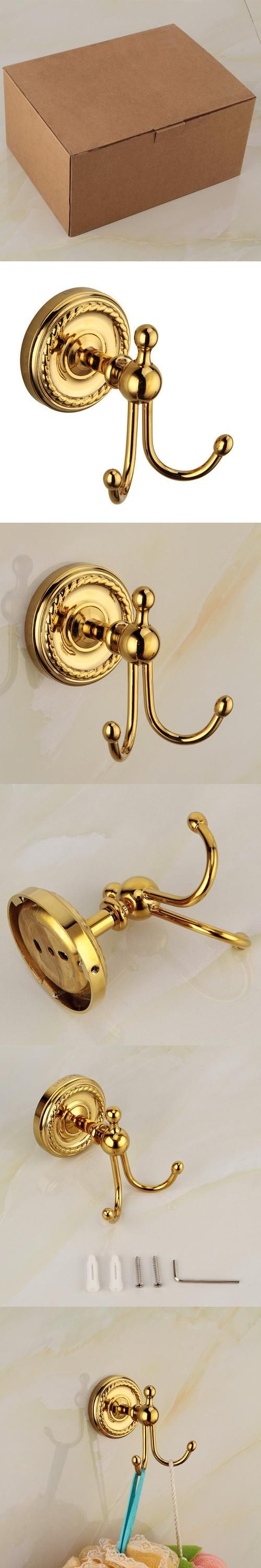 Free Shipping,Retail&Wholesale Gold robe hook Bathroom Kitchen Organizer Hanger wall cabide Hooks towel hook 2 hooks