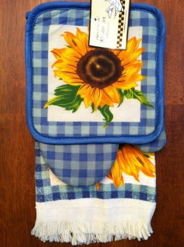 3 Piece Set Of Blue Checkered Sunflower Kitchen Towel, Oven Mitt And Pot  Holder Dura