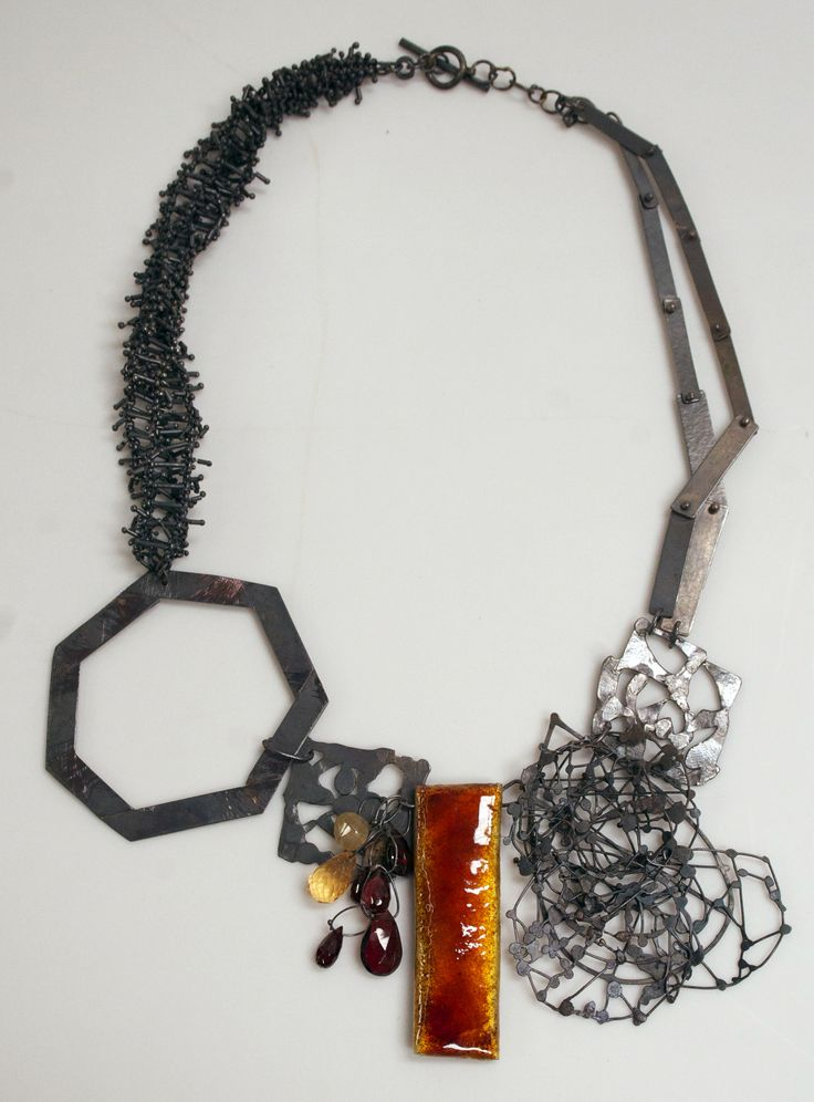 Karen Gilbert, Growth (necklace), Silver, enamel, stones, 2013 | http://www.snyderman-works.com/artists/110