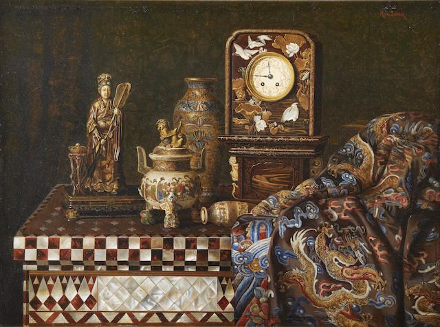 Max Schödl (Austrian, 1834-1921) Still life with Japanese works of art signed 'Max Schödl' (upper right) oil on panel  36.5 x 48cm (14 3/8 x 18 7/8in).