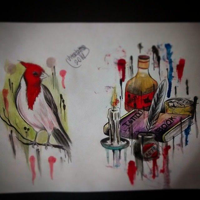 watercolor, drawing watercolor, desenho aquarela, aquarela, aquarela tattoo, watercolor tattoo, tattoo book, cardeal cabeça vermelha