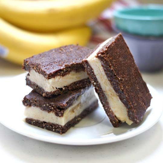 Raw Ice Cream Sandwiches (Vegan, Paleo) Sweet vanilla ice cream is sandwiched between two chocolate cookies, but these particular sandwiches are grain-free, dairy-free, and sweetened with only fruit!