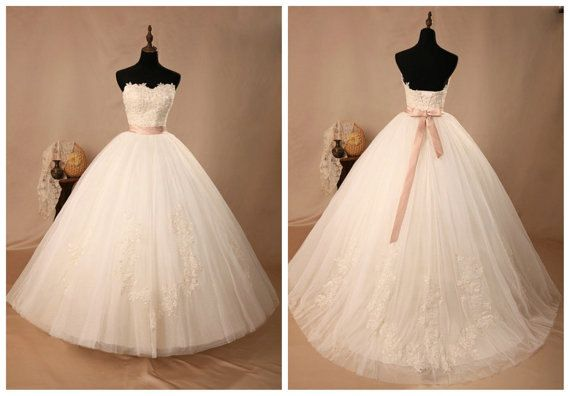 Cheap Fancy A Line Strapless Chapel Train Organza Simple: Sweetheart Organza Ivory Applique Sash Lace Up Chapel