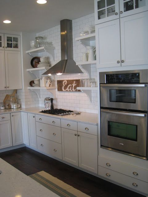 White Kitchen with Open Shelves from The Lily Pad Cottage via Eclectically Vintage.