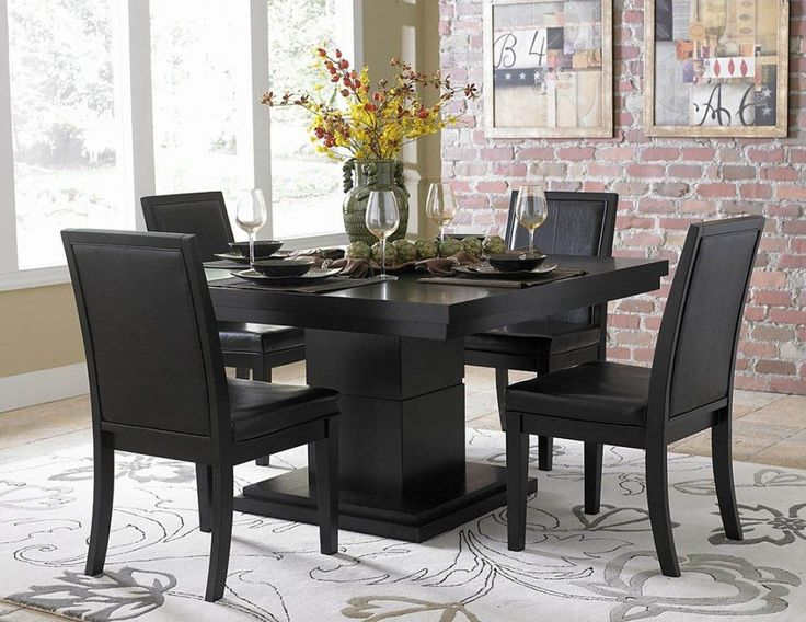 Dining Room:Classic Black Dining Room Sets With Yellow Flower Centerpiece Ideas Sophisticated Black Dining Rooms Theme and Wall Decorating Ideas