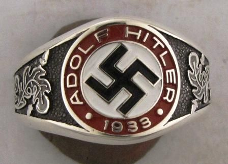 Adolf Hitler 1933 Ring Sterling Silver German WW2 Nazi