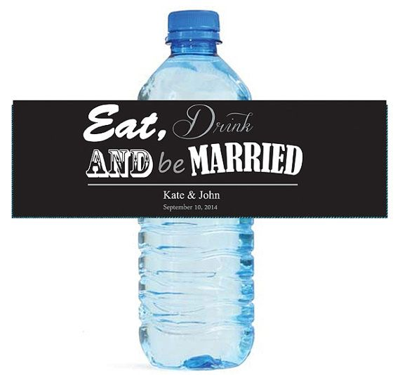 "Contemporary Wedding Water Bottle Labels Great for Engagement Bridal Shower Party 7""x2"""