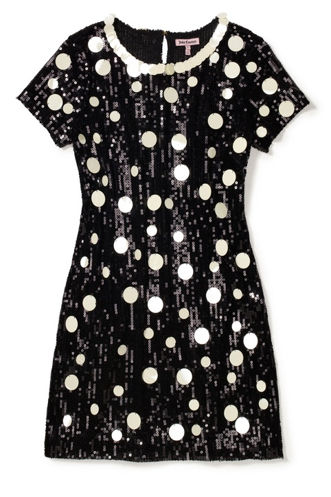juicy couture polka-dot sequin party dress A t-shirt mini won't cling—but highlights legs.    Juicy Couture, sizes XS-XL, $328, juicycouture.com