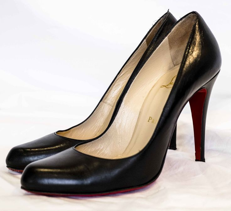 Christian Louboutin leather pumps. See reluxcycle.com for more details and designer shoes on sale.