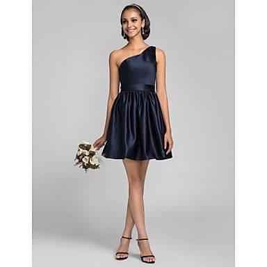A-line Princess Short/Mini Satin Bridesmaid Dress (682812) – USD $ 89.99