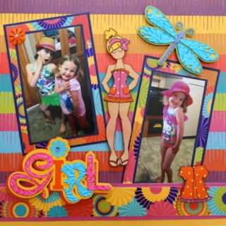 This is a girl scrapbook page idea made with a title from Cricut Out of Character cartridge. To learn how to make this layout, go to my blog at Everyday Life Scrapbook 39 - Me and My Cricut