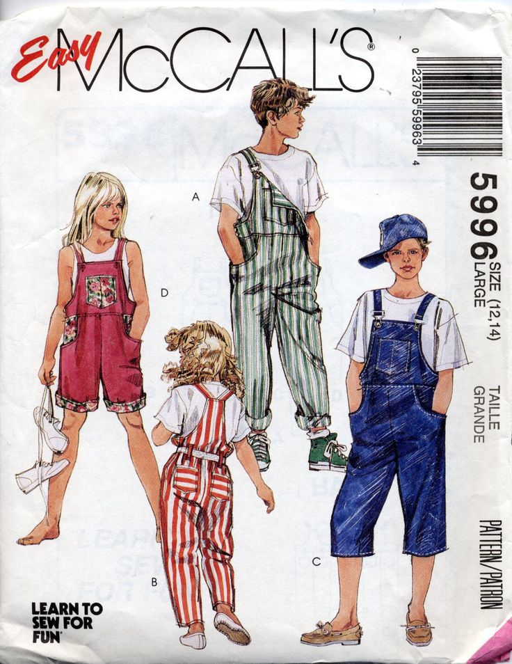 Bib Overalls for Kids pattern, McCall's 5996, Size Large (12, 14), shorts, pedal pushers by PennyPaperCompany on Etsy