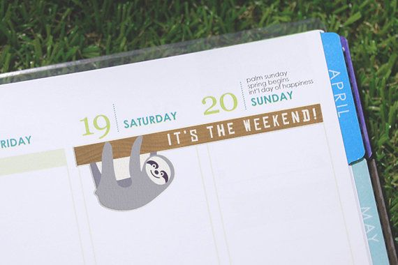 Celebrate having a slow weekend with these adorable sloth weekend stickers that can be placed on your planner pages!  Perfect for sloth lovers or wildlife month/week !  Specifications:  The stickers are printed on thin label paper to keep your journal slim and kiss cut around the edges   (The lines seen around each sticker's borders are the cut lines).  Comes in a cellophane sleeve, so you can keep them together in your planner. Please note that actual printed colours may differ slightly…