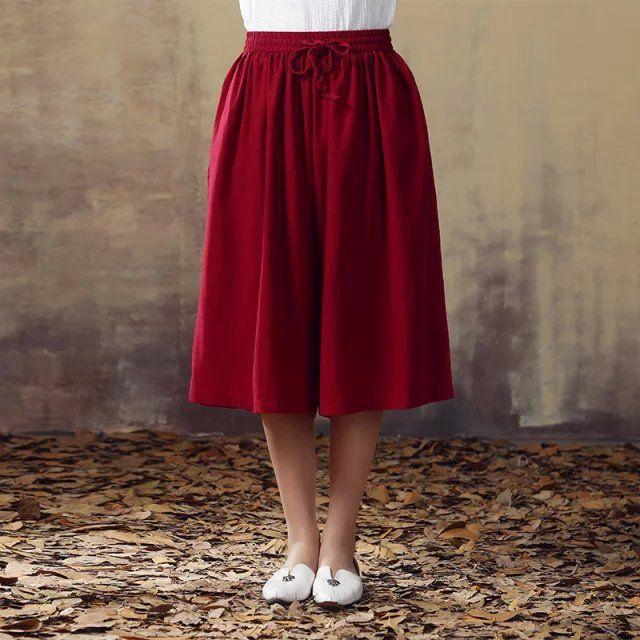 Женщин Большой размер широкую ногу брюки хлопок белье девушки широкий брюки мода женщины брюки капри литературы и искусства F828 купить на AliExpress